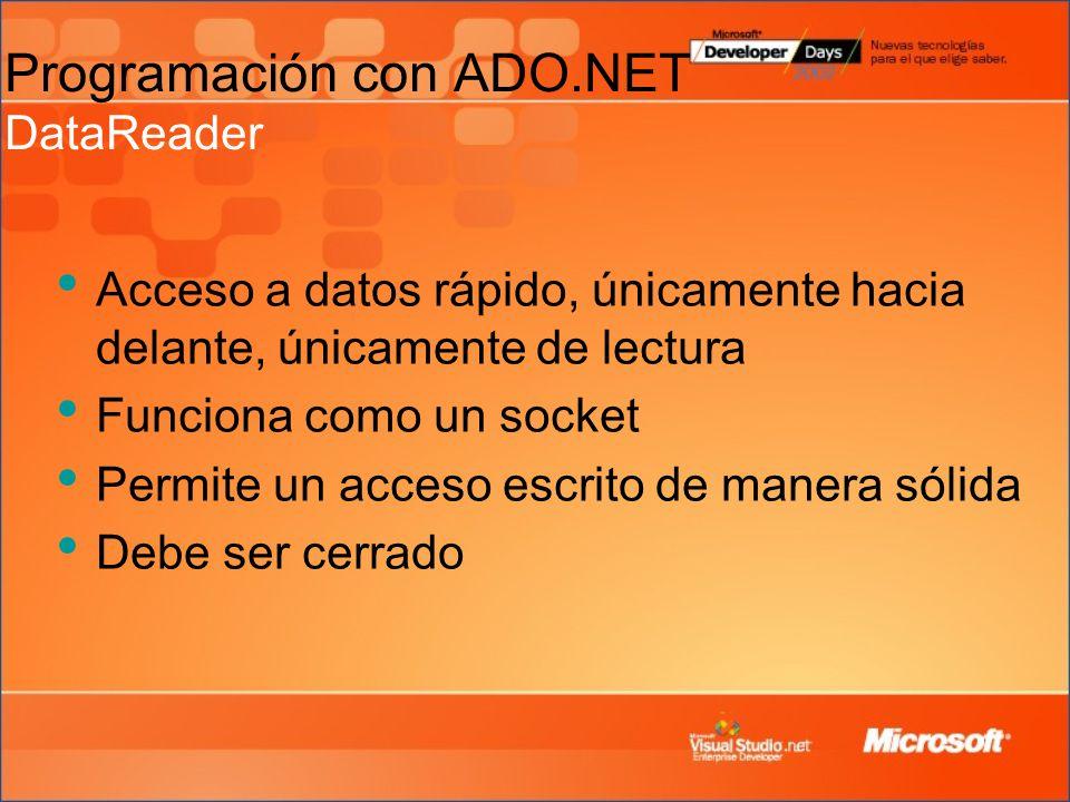 Acceso a datos rápido, únicamente hacia delante, únicamente de lectura Funciona como un socket Permite un acceso escrito de manera sólida Debe ser cerrado Programación con ADO.NET DataReader