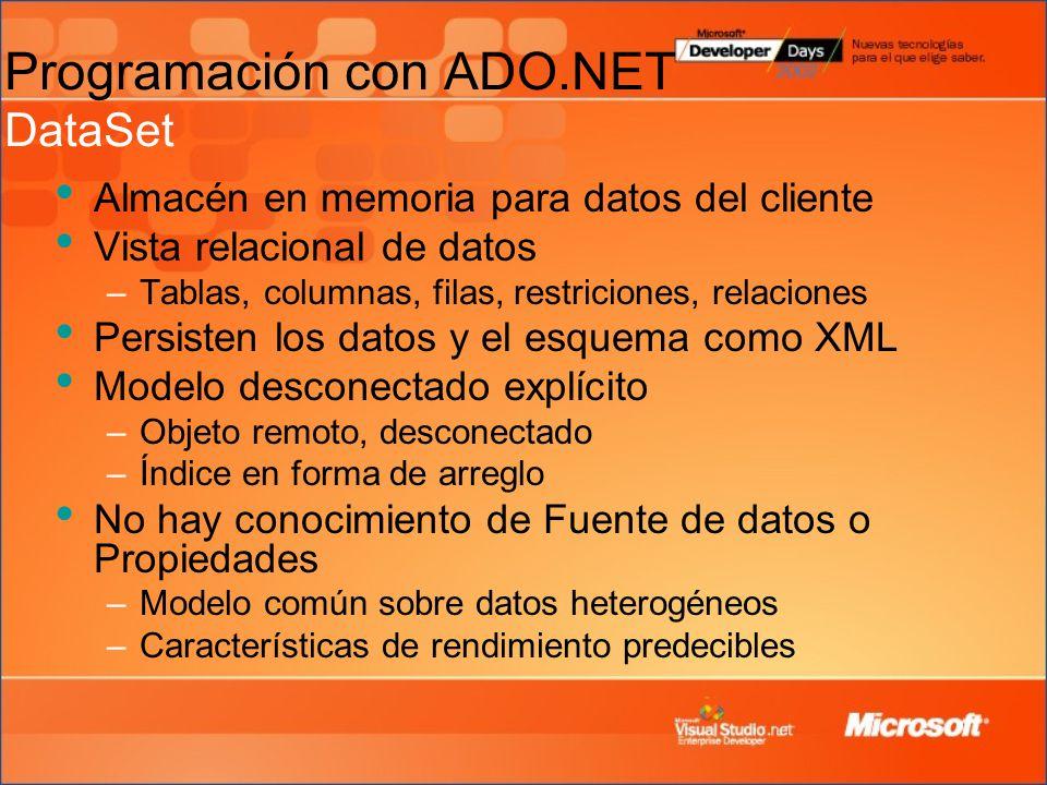 Almacén en memoria para datos del cliente Vista relacional de datos –Tablas, columnas, filas, restriciones, relaciones Persisten los datos y el esquema como XML Modelo desconectado explícito –Objeto remoto, desconectado –Índice en forma de arreglo No hay conocimiento de Fuente de datos o Propiedades –Modelo común sobre datos heterogéneos –Características de rendimiento predecibles Programación con ADO.NET DataSet