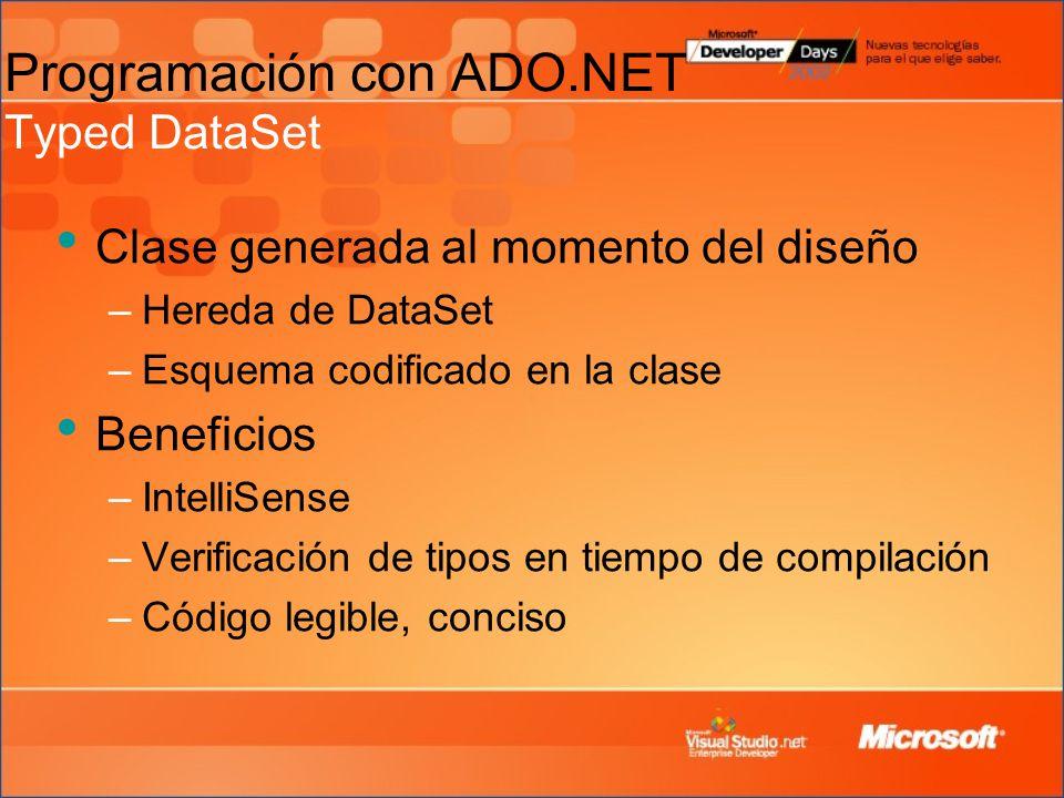 Clase generada al momento del diseño –Hereda de DataSet –Esquema codificado en la clase Beneficios –IntelliSense –Verificación de tipos en tiempo de compilación –Código legible, conciso Programación con ADO.NET Typed DataSet