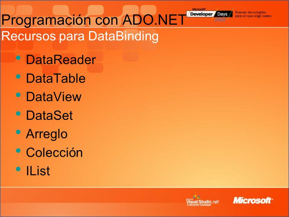 Programación con ADO.NET Recursos para DataBinding DataReader DataTable DataView DataSet Arreglo Colección IList