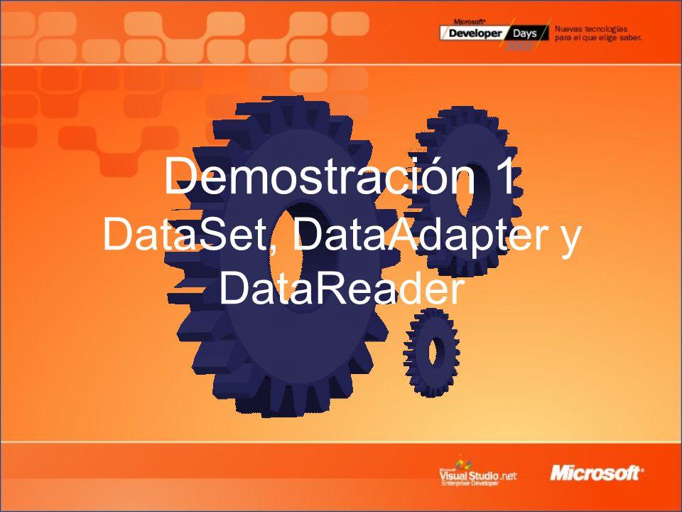 Demostración 1 DataSet, DataAdapter y DataReader