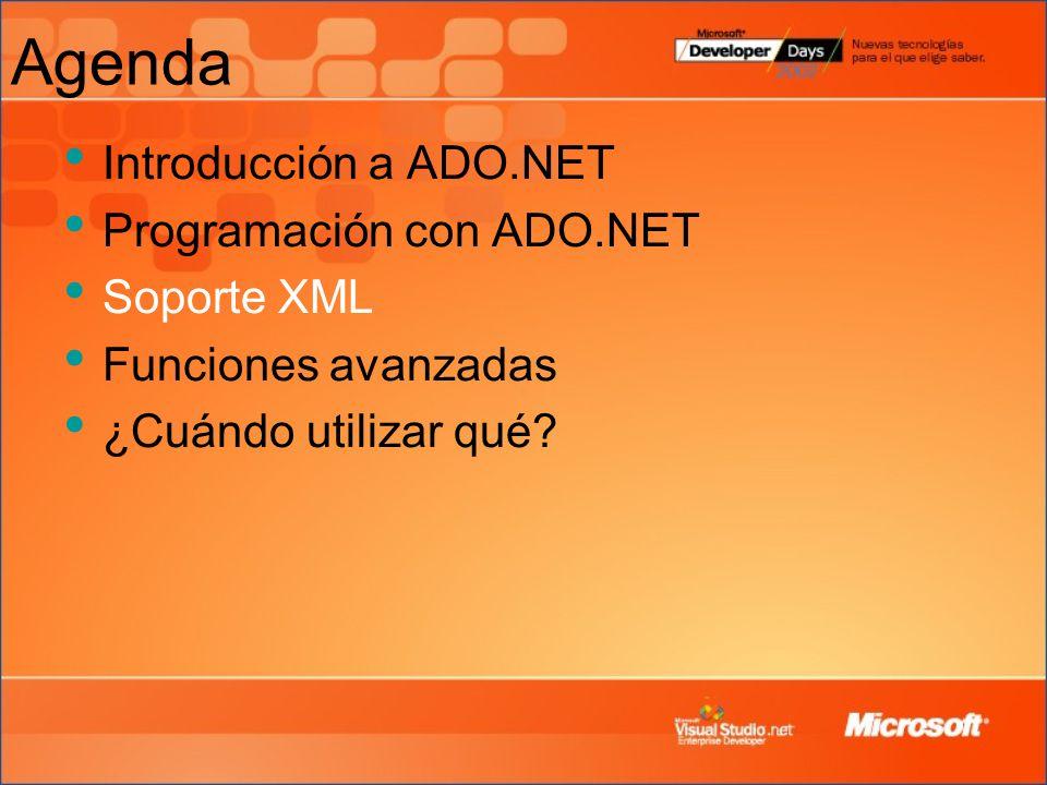 Agenda Introducción a ADO.NET Programación con ADO.NET Soporte XML Funciones avanzadas ¿Cuándo utilizar qué?