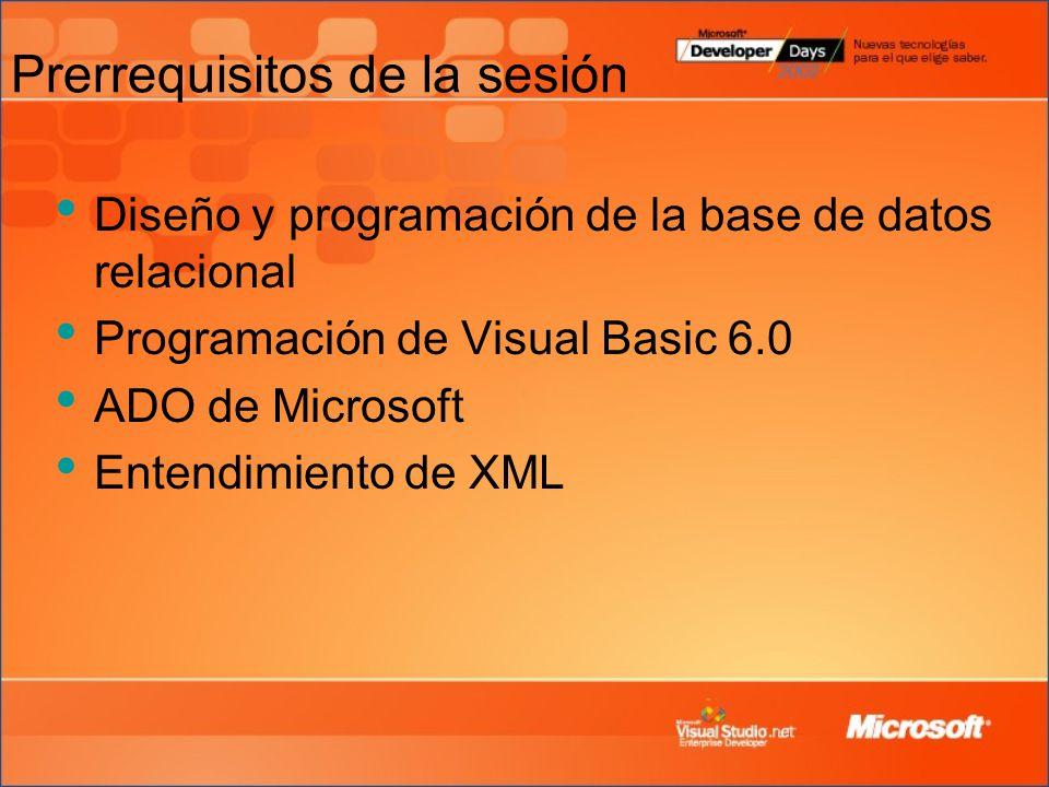 Prerrequisitos de la sesión Diseño y programación de la base de datos relacional Programación de Visual Basic 6.0 ADO de Microsoft Entendimiento de XML