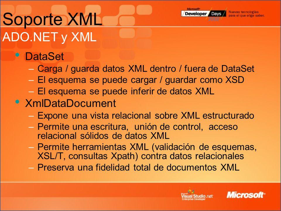Soporte XML ADO.NET y XML DataSet –Carga / guarda datos XML dentro / fuera de DataSet –El esquema se puede cargar / guardar como XSD –El esquema se puede inferir de datos XML XmlDataDocument –Expone una vista relacional sobre XML estructurado –Permite una escritura, unión de control, acceso relacional sólidos de datos XML –Permite herramientas XML (validación de esquemas, XSL/T, consultas Xpath) contra datos relacionales –Preserva una fidelidad total de documentos XML