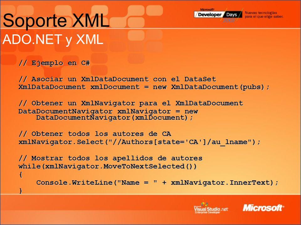 Soporte XML ADO.NET y XML // Ejemplo en C# // Asociar un XmlDataDocument con el DataSet XmlDataDocument xmlDocument = new XmlDataDocument(pubs); // Obtener un XmlNavigator para el XmlDataDocument DataDocumentNavigator xmlNavigator = new DataDocumentNavigator(xmlDocument); // Obtener todos los autores de CA xmlNavigator.Select( //Authors[state= CA ]/au_lname ); // Mostrar todos los apellidos de autores while(xmlNavigator.MoveToNextSelected()){ Console.WriteLine( Name = + xmlNavigator.InnerText); }