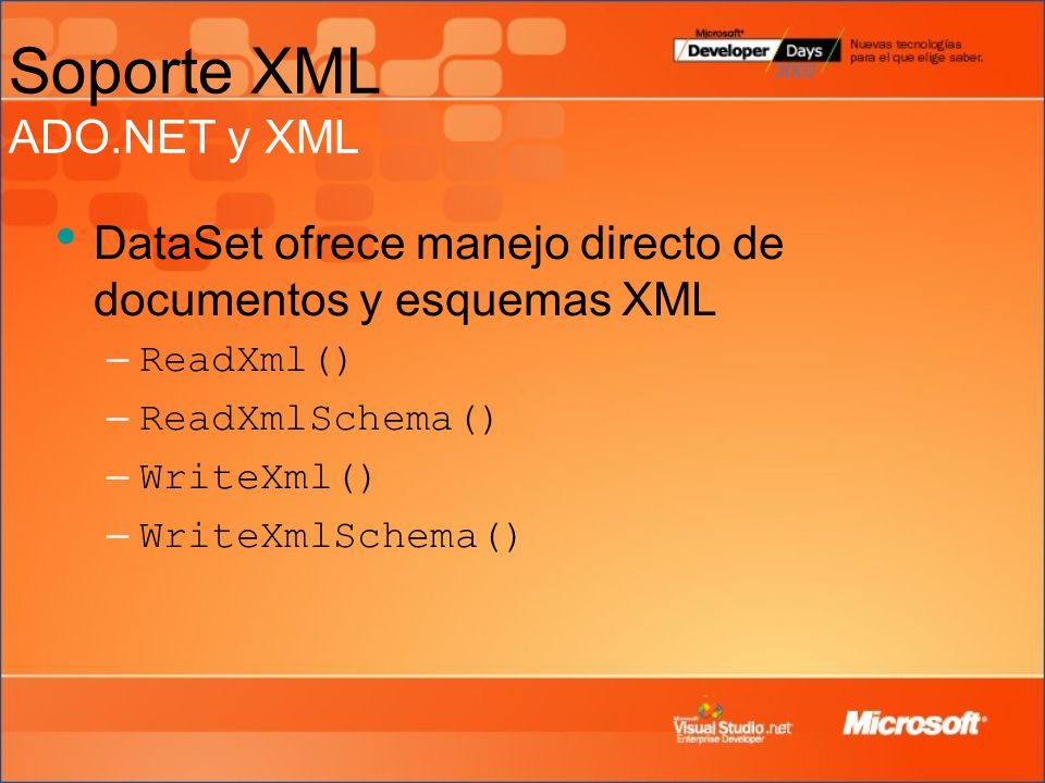 DataSet ofrece manejo directo de documentos y esquemas XML – ReadXml() – ReadXmlSchema() – WriteXml() – WriteXmlSchema() Soporte XML ADO.NET y XML