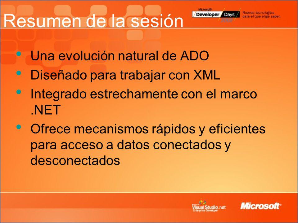 Resumen de la sesión Una evolución natural de ADO Diseñado para trabajar con XML Integrado estrechamente con el marco.NET Ofrece mecanismos rápidos y eficientes para acceso a datos conectados y desconectados
