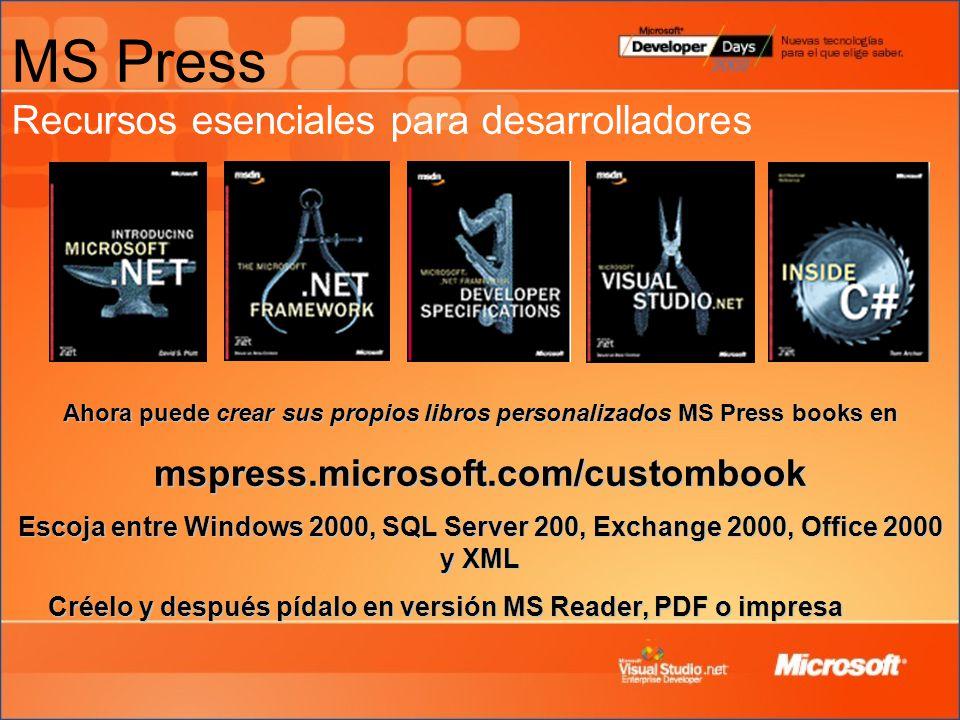 MS Press Recursos esenciales para desarrolladores Ahora puede crear sus propios libros personalizados MS Press books en mspress.microsoft.com/custombook Escoja entre Windows 2000, SQL Server 200, Exchange 2000, Office 2000 y XML Créelo y después pídalo en versión MS Reader, PDF o impresa