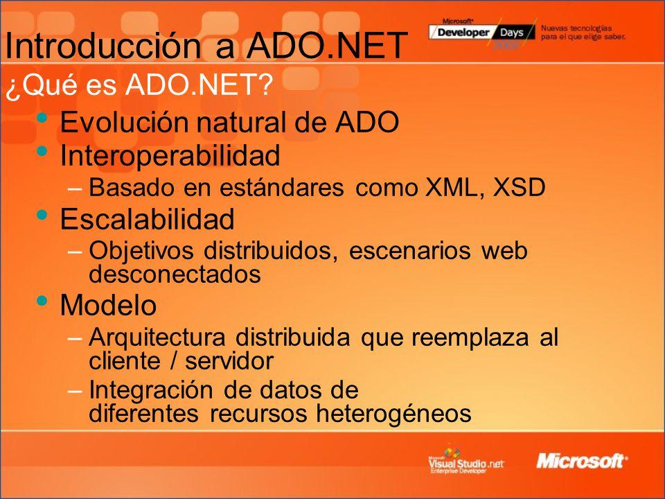 Introducción a ADO.NET ¿Qué es ADO.NET.