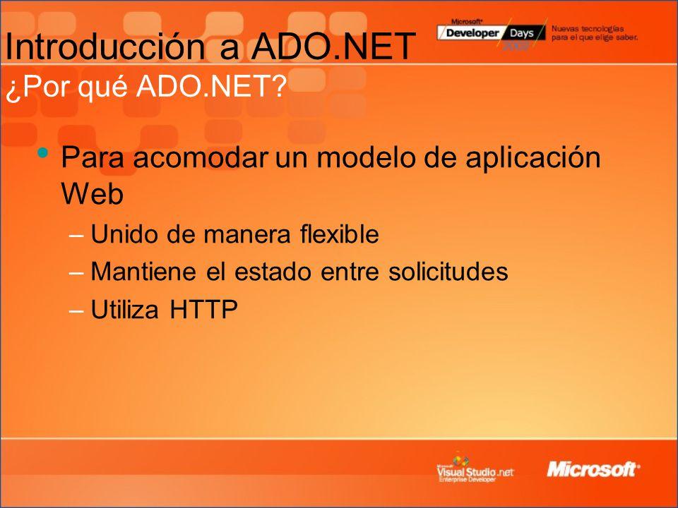 Introducción a ADO.NET ¿Por qué ADO.NET.