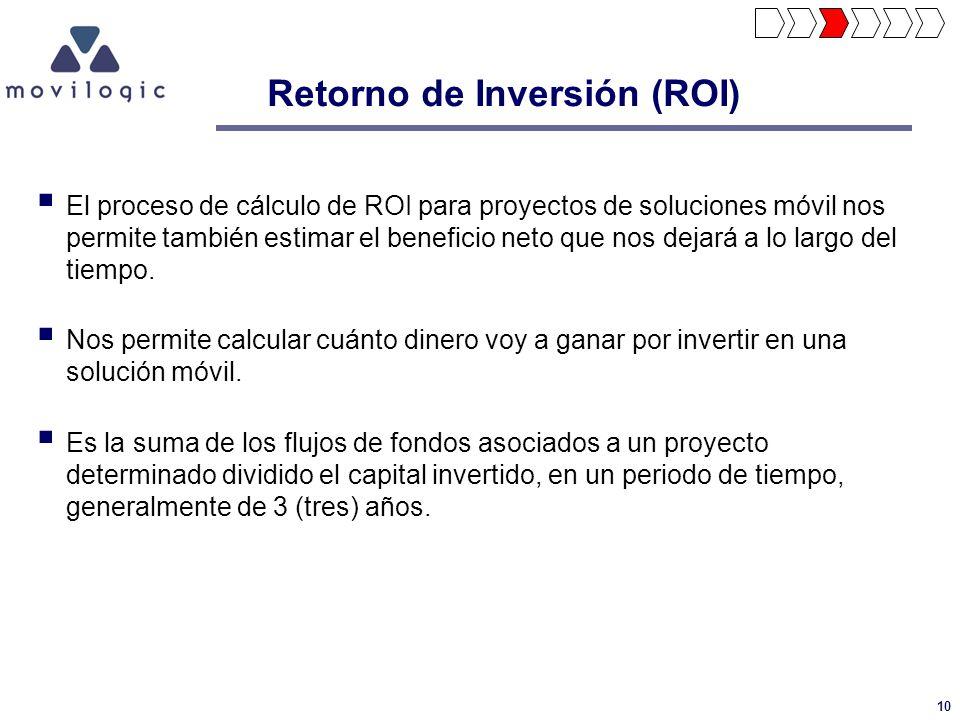 10 Retorno de Inversión (ROI) El proceso de cálculo de ROI para proyectos de soluciones móvil nos permite también estimar el beneficio neto que nos de