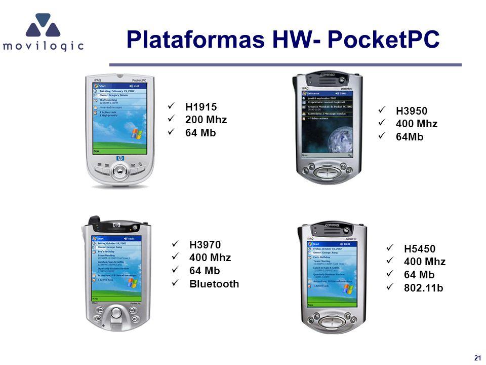 21 Plataformas HW- PocketPC H1915 200 Mhz 64 Mb H3950 400 Mhz 64Mb H3970 400 Mhz 64 Mb Bluetooth H5450 400 Mhz 64 Mb 802.11b