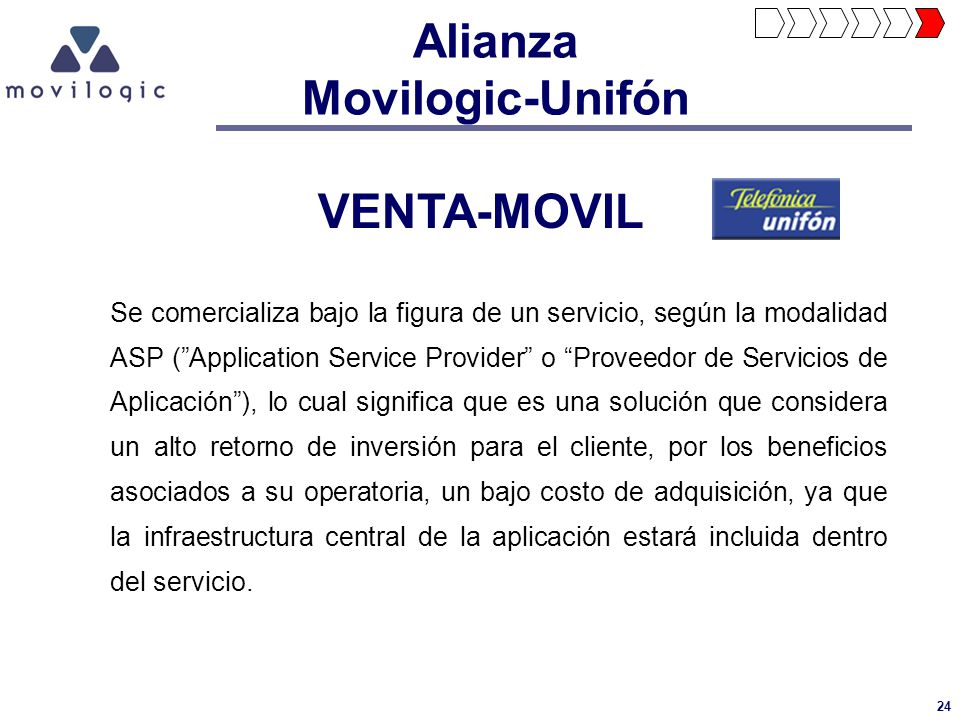 24 VENTA-MOVIL Se comercializa bajo la figura de un servicio, según la modalidad ASP (Application Service Provider o Proveedor de Servicios de Aplicac