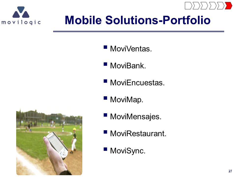 27 Mobile Solutions-Portfolio MoviVentas. MoviBank. MoviEncuestas. MoviMap. MoviMensajes. MoviRestaurant. MoviSync.