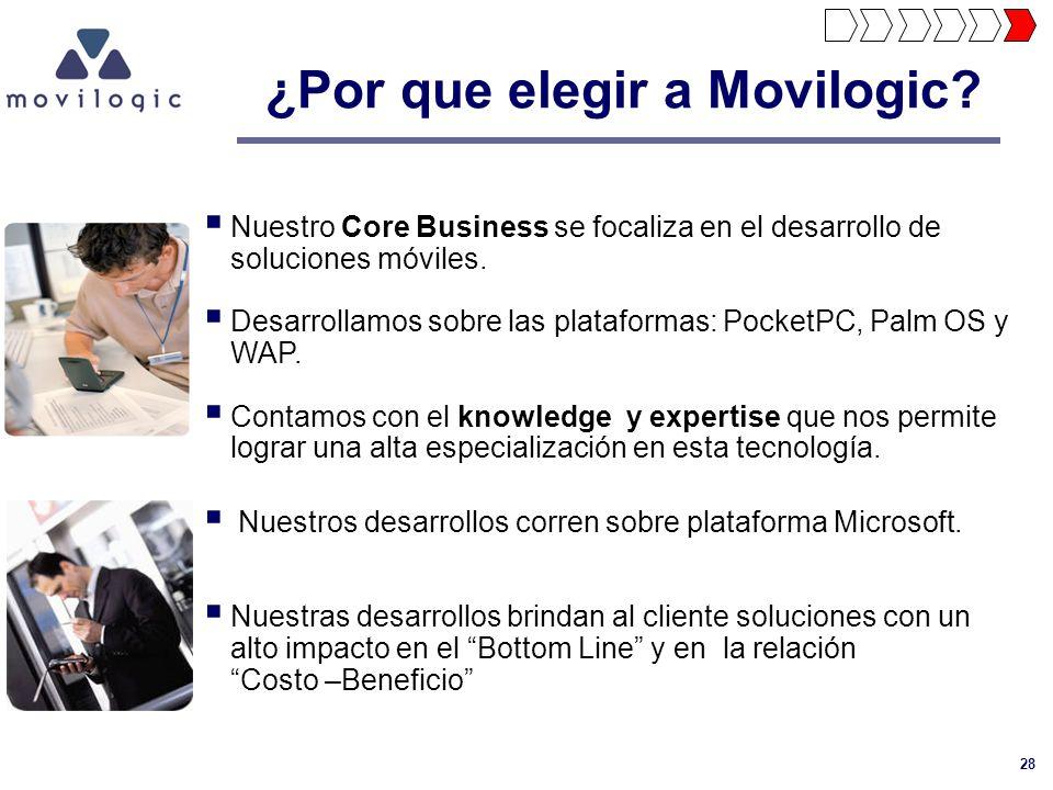 28 ¿Por que elegir a Movilogic? Nuestro Core Business se focaliza en el desarrollo de soluciones móviles. Desarrollamos sobre las plataformas: PocketP