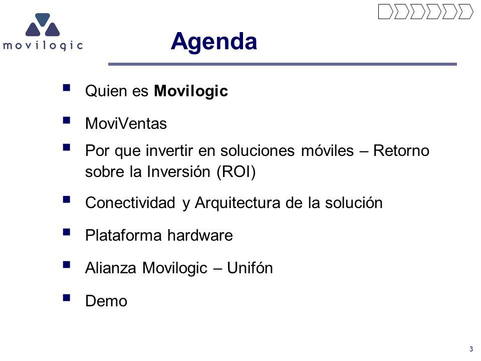 3 Agenda Quien es Movilogic MoviVentas Por que invertir en soluciones móviles – Retorno sobre la Inversión (ROI) Conectividad y Arquitectura de la sol