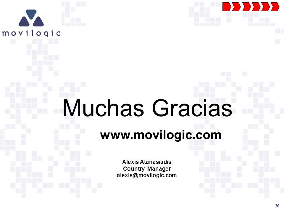 30 Muchas Gracias www.movilogic.com Alexis Atanasiadis Country Manager alexis@movilogic.com