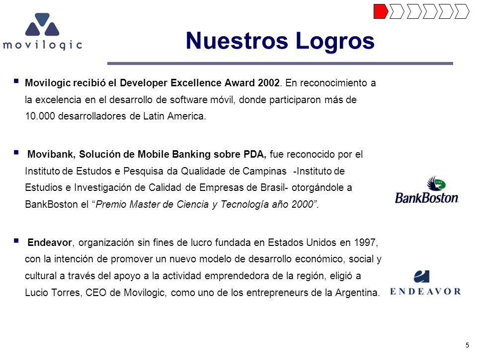 5 Nuestros Logros Movilogic recibió el Developer Excellence Award 2002. En reconocimiento a la excelencia en el desarrollo de software móvil, donde pa