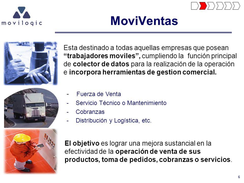 6 MoviVentas Esta destinado a todas aquellas empresas que posean trabajadores moviles, cumpliendo la función principal de colector de datos para la re