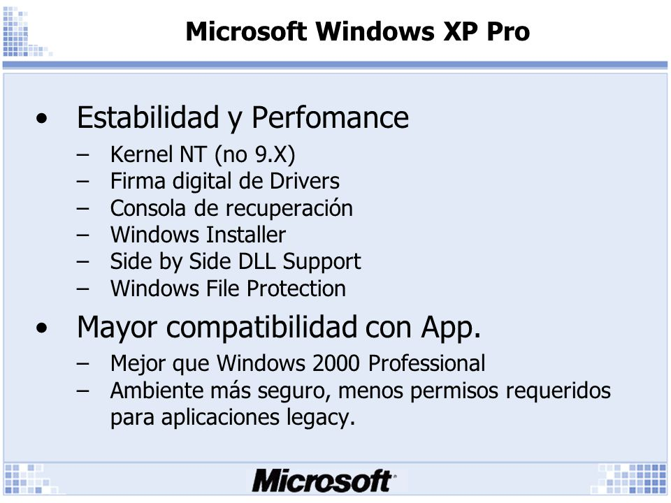 Microsoft Windows XP Pro Estabilidad y Perfomance –Kernel NT (no 9.X) –Firma digital de Drivers –Consola de recuperación –Windows Installer –Side by Side DLL Support –Windows File Protection Mayor compatibilidad con App.