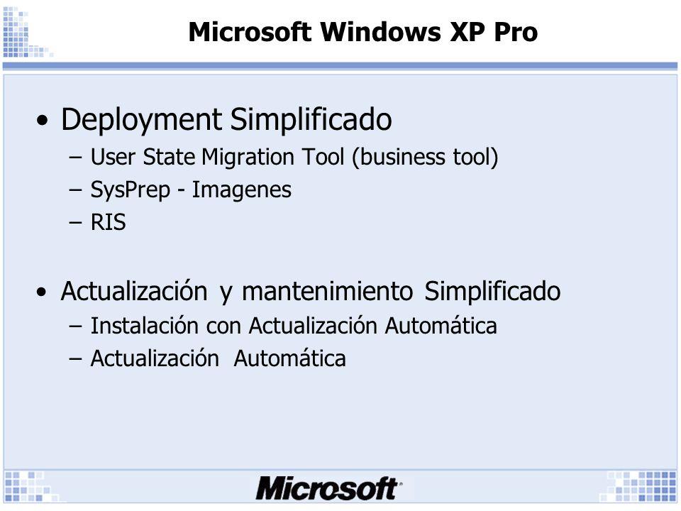 Microsoft Windows XP Pro Deployment Simplificado –User State Migration Tool (business tool) –SysPrep - Imagenes –RIS Actualización y mantenimiento Simplificado –Instalación con Actualización Automática –Actualización Automática