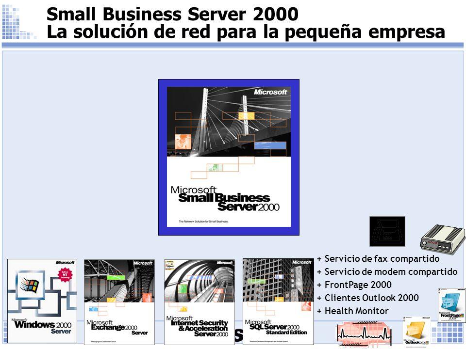 Small Business Server 2000 La solución de red para la pequeña empresa + Servicio de fax compartido + Servicio de modem compartido + FrontPage 2000 + Clientes Outlook 2000 + Health Monitor
