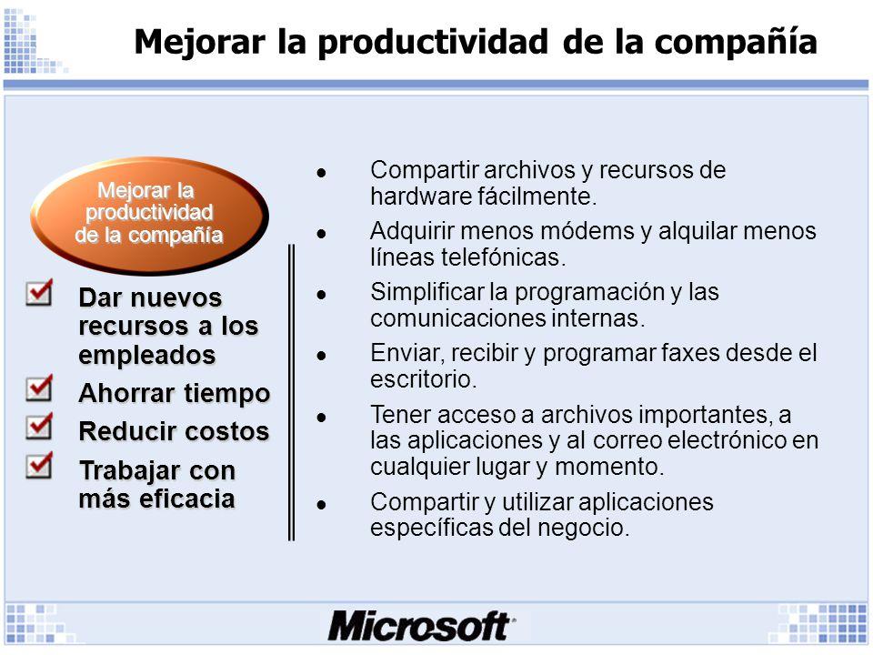 Mejorar la productividad de la compañía Compartir archivos y recursos de hardware fácilmente.