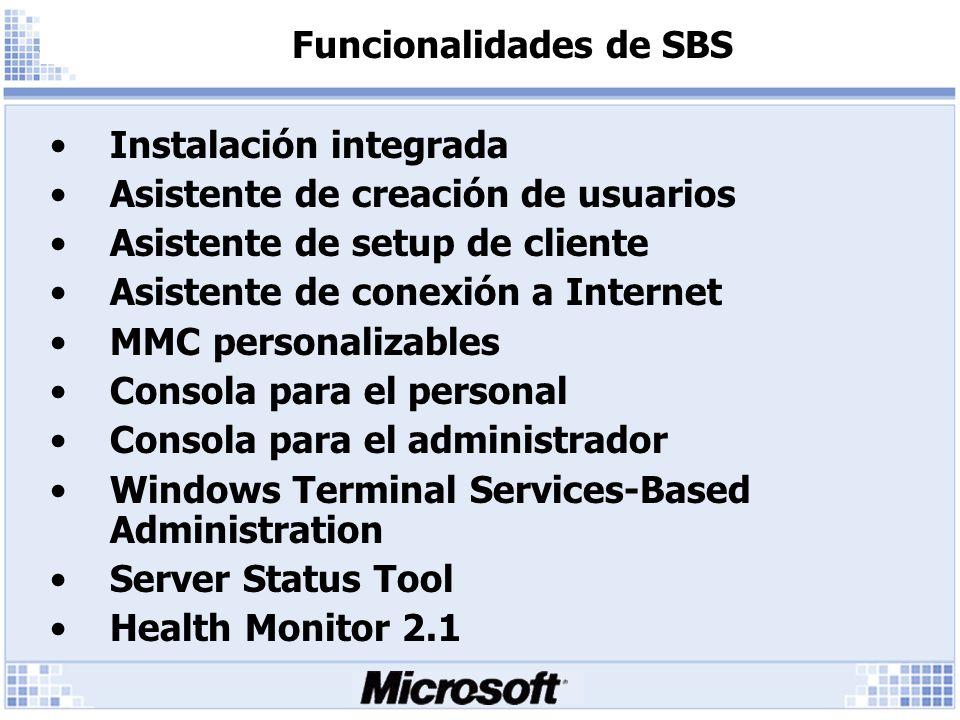 Funcionalidades de SBS Instalación integrada Asistente de creación de usuarios Asistente de setup de cliente Asistente de conexión a Internet MMC personalizables Consola para el personal Consola para el administrador Windows Terminal Services-Based Administration Server Status Tool Health Monitor 2.1
