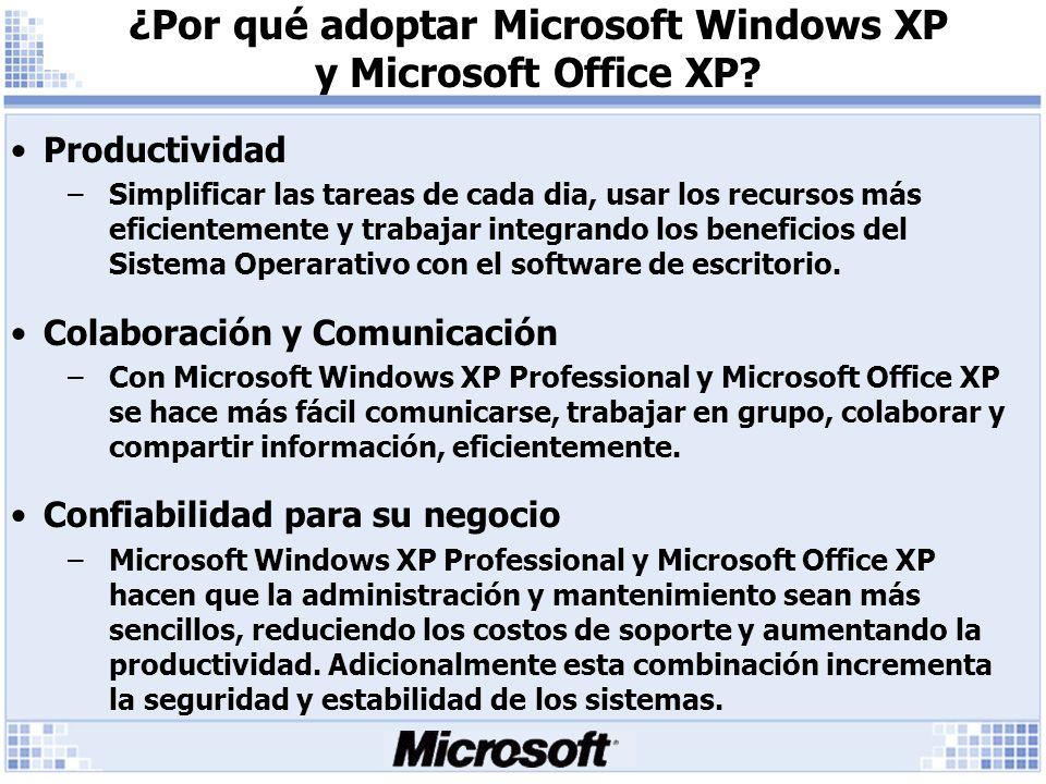 ¿Por qué adoptar Microsoft Windows XP y Microsoft Office XP.