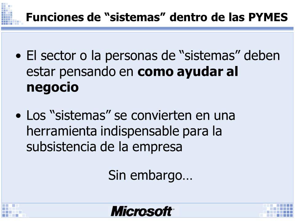 Funciones de sistemas dentro de las PYMES El sector o la personas de sistemas deben estar pensando en como ayudar al negocio Los sistemas se convierten en una herramienta indispensable para la subsistencia de la empresa Sin embargo…