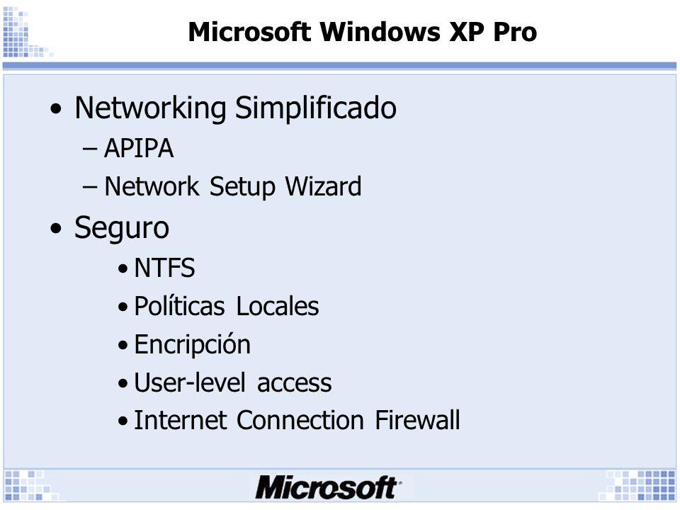 Microsoft Windows XP Pro Estabilidad y Perfomance –Kernel NT (no 9.X) –Firma digital de Drivers –Consola de recuperación –Windows Installer –Side by Side DLL Support –Windows File Protection Mayor compatibilidad con App.