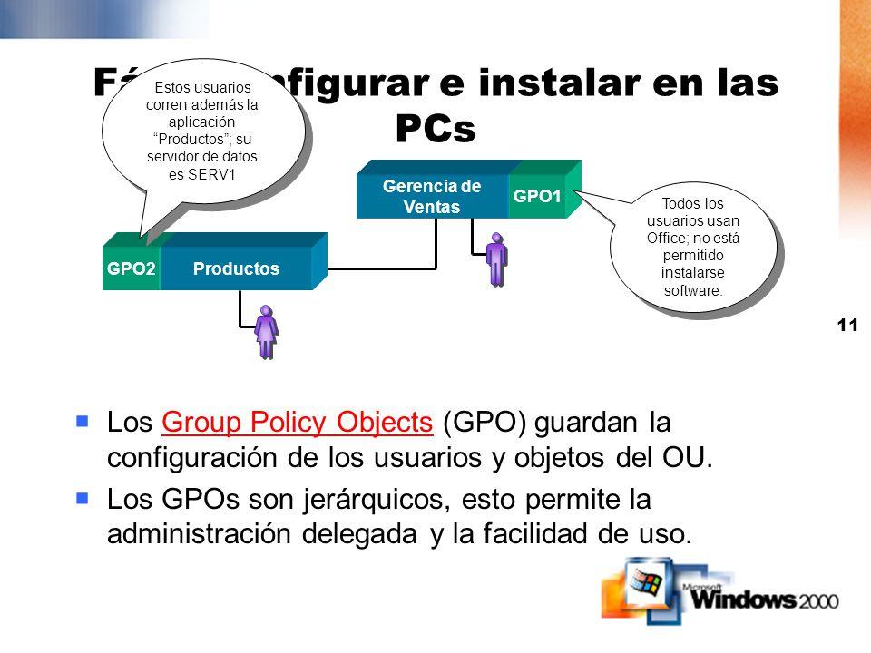 10 Disponga los OUs según: Delegar control administrativo en el nivel de OU OUs permiten el modelo de single domain Unidades Organizacionales Estructu