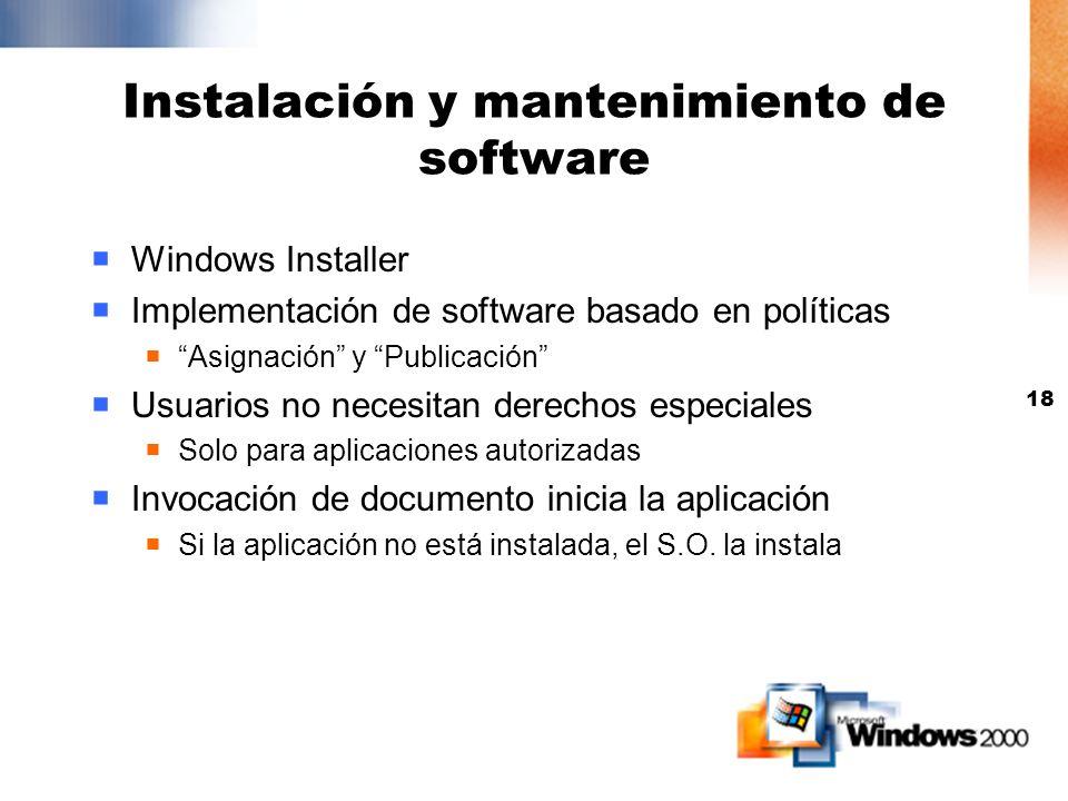 17 Administración de data La información se replica via offline folders La información reside en el server para protección La información reside local