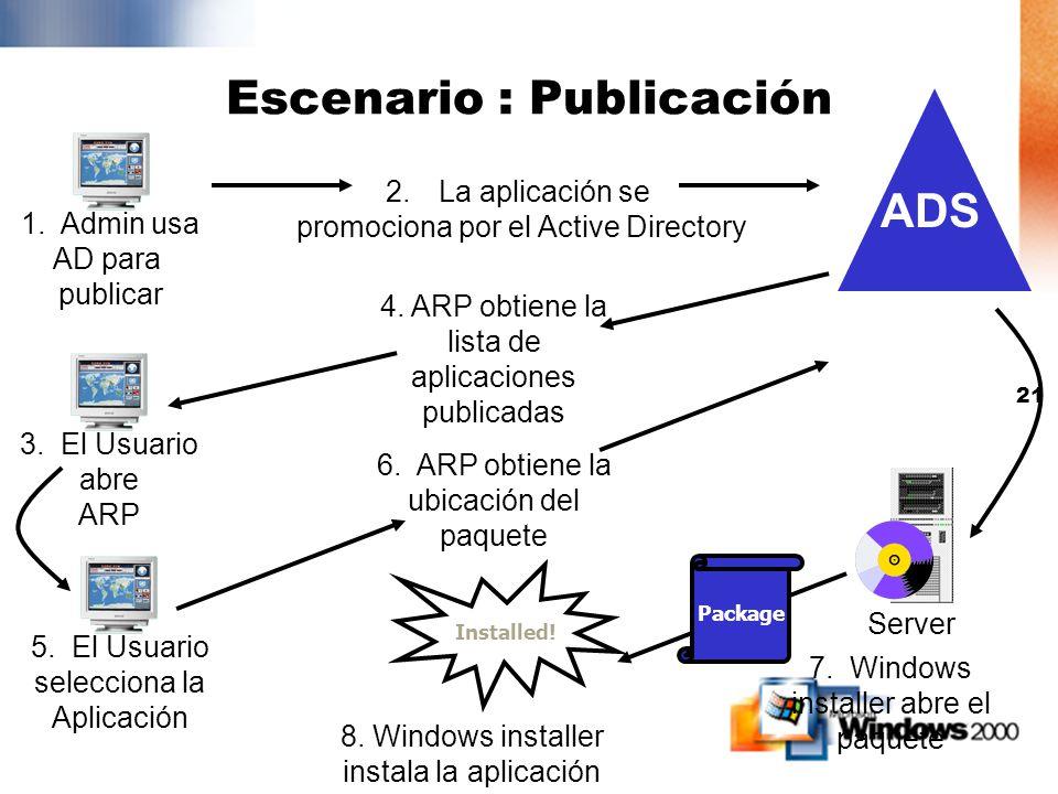 20 1. Admin usa AD para asignar Escenario: Asignación 5. Usuario selecciona una aplicación Server Package 7. Windows installer abre el paquete Instala