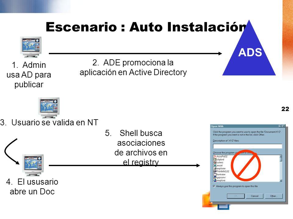 21 3. El Usuario abre ARP 1. Admin usa AD para publicar Escenario : Publicación 5. El Usuario selecciona la Aplicación Server Package 7. Windows insta