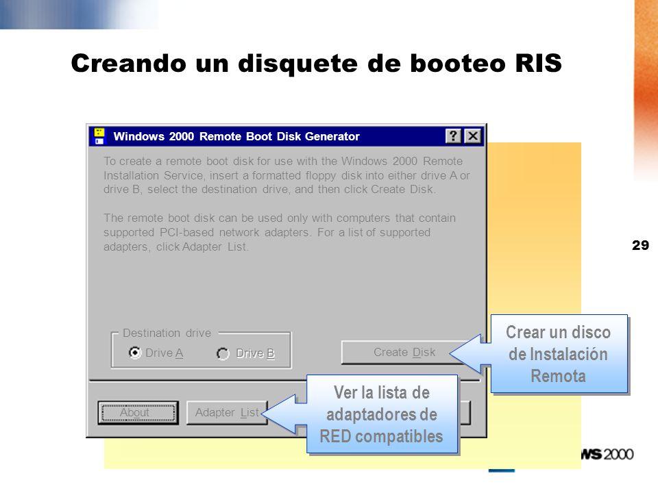 28 Creando una imagen de CD, Configurando, e iniciando RIS El asistente de configuración: Creara la estructura del folder RIS Copiara los archivos de