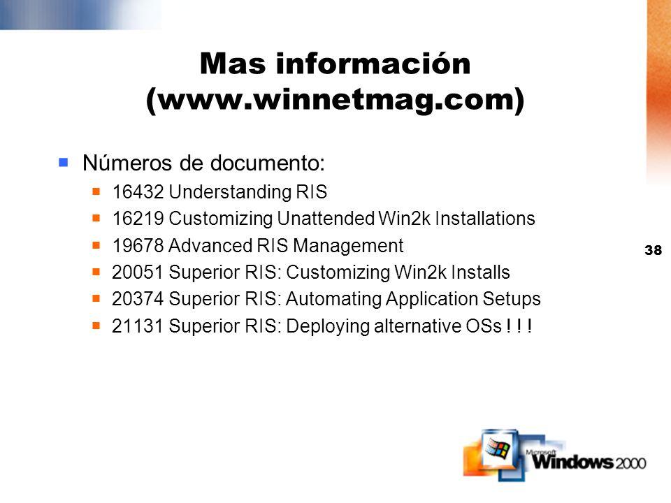 37 Usando una imagen de CD vs. Una imagen RIPrep Imagen de CD Solo puede contener el Sistema Operativo Las apliaciones pueden ser instaladas usando Gr