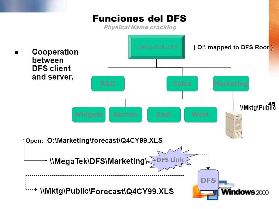 44 \\NYFin2\Public \\GzmDev1\Src \\Minerva\Rpts LAN or WAN Funciones del DFS Arquitectura Cliente Servidor DFS Server DFS DFS Client