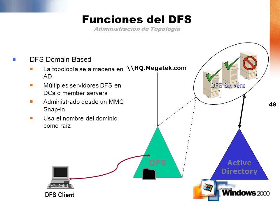 47 Funciones del DFS Administración de Topología Almacenar el mapeo físico al lógico de manera confiable y accesible DFS DFS Server DFS Client Standal