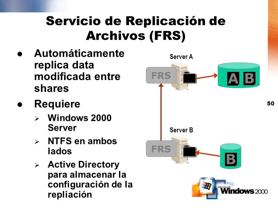 49 Prioridad para las réplicas dentro del site del usuario (con DFS Domain based) Prioridad para las réplicas dentro del site del usuario (con DFS Dom