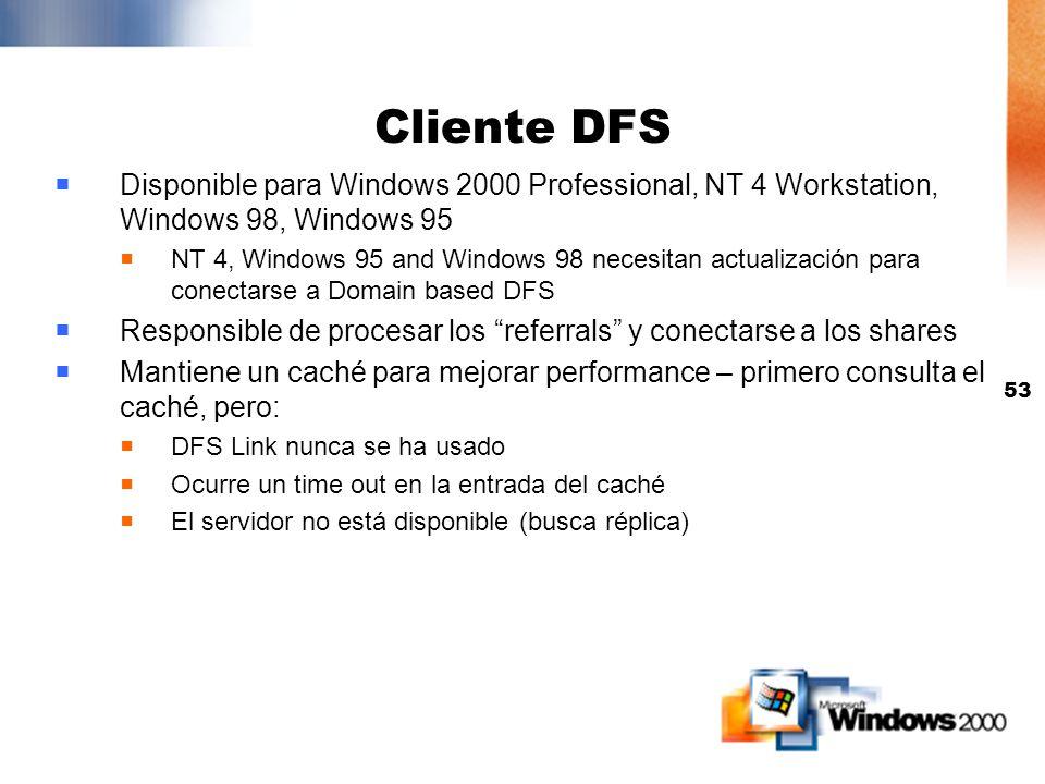 52 FRS Usado por DFS para performance y disponibilidad Balance de carga de servidores mejora la performance Selección de réplicas por sites mejora la