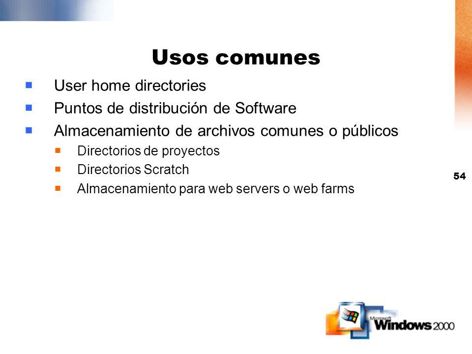 53 Cliente DFS Disponible para Windows 2000 Professional, NT 4 Workstation, Windows 98, Windows 95 NT 4, Windows 95 and Windows 98 necesitan actualiza