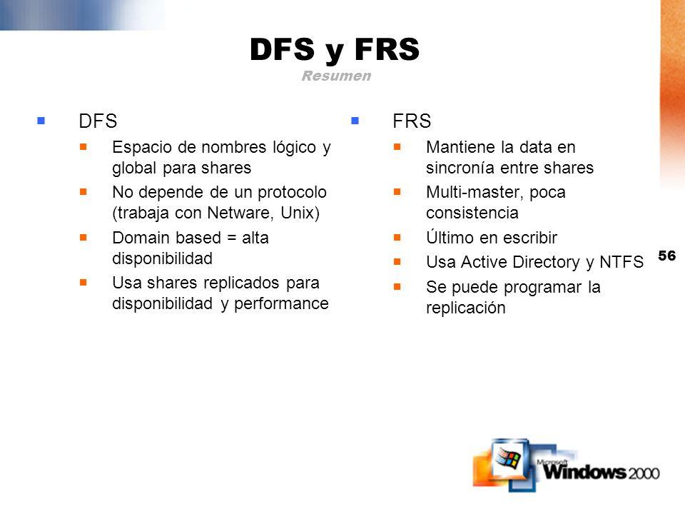 55 DFS y FRS Armando el escenario Org y FRS y x x DFS Client DS DFS Servers AB