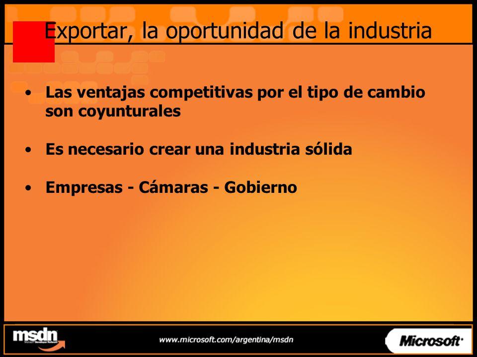 Exportar, la oportunidad de la industria Las ventajas competitivas por el tipo de cambio son coyunturales Es necesario crear una industria sólida Empresas - Cámaras - Gobierno