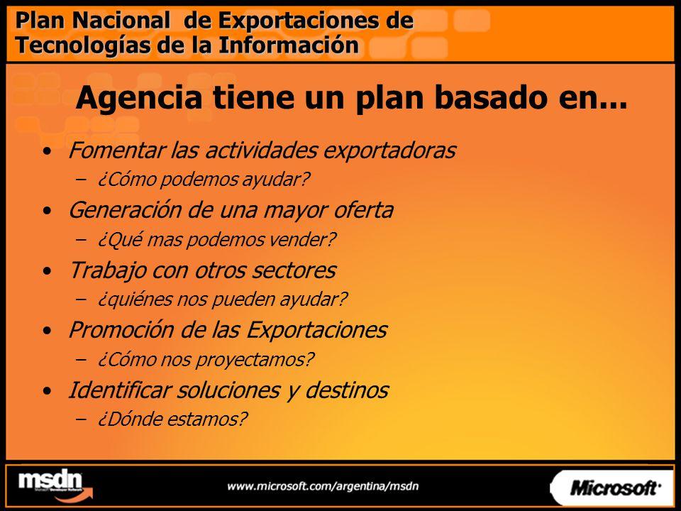 Agencia tiene un plan basado en... Fomentar las actividades exportadoras –¿Cómo podemos ayudar.