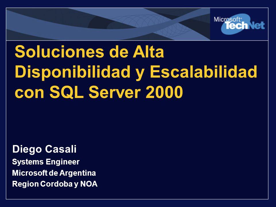 Soluciones de Alta Disponibilidad y Escalabilidad con SQL Server 2000 Diego Casali Systems Engineer Microsoft de Argentina Region Cordoba y NOA