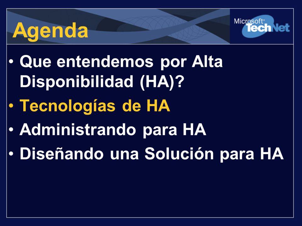 Agenda Que entendemos por Alta Disponibilidad (HA)? Tecnologías de HA Administrando para HA Diseñando una Solución para HA