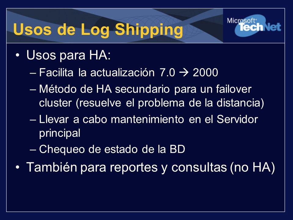 Usos de Log Shipping Usos para HA: –Facilita la actualización 7.0 2000 –Método de HA secundario para un failover cluster (resuelve el problema de la d