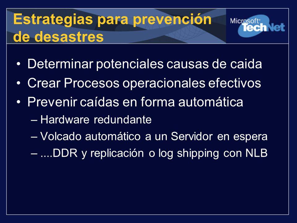 Estrategias para prevención de desastres Determinar potenciales causas de caida Crear Procesos operacionales efectivos Prevenir caídas en forma automá