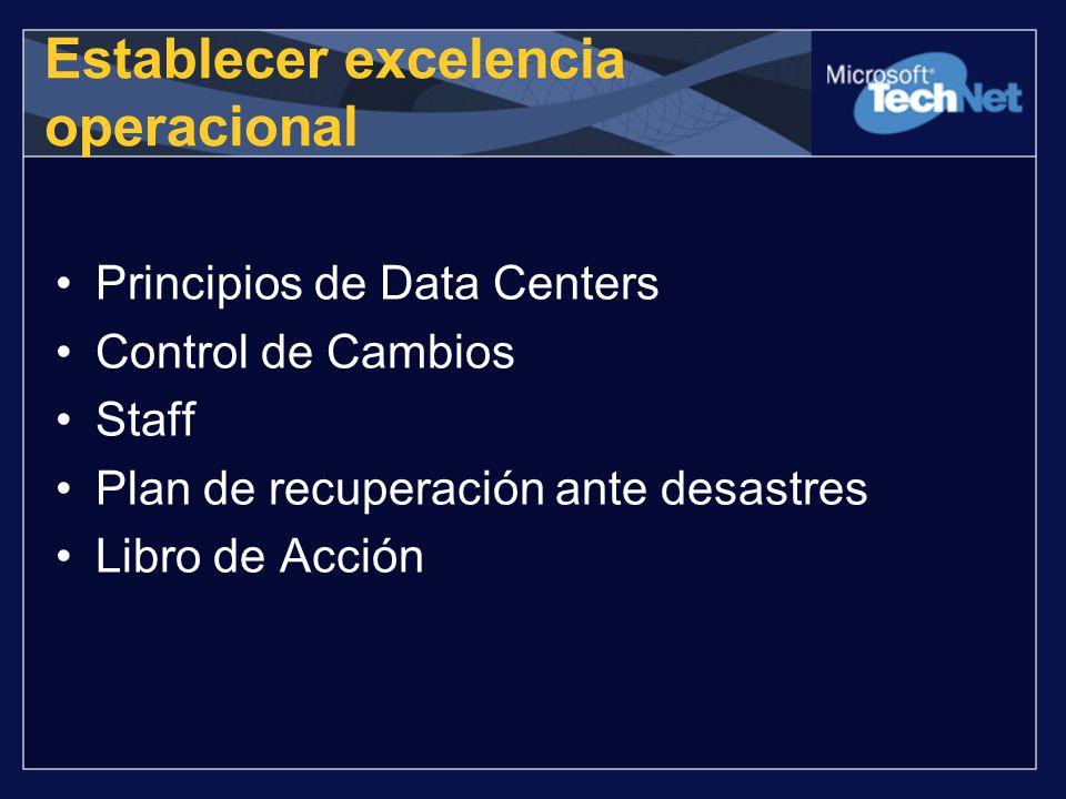 Principios de Data Centers Control de Cambios Staff Plan de recuperación ante desastres Libro de Acción Establecer excelencia operacional